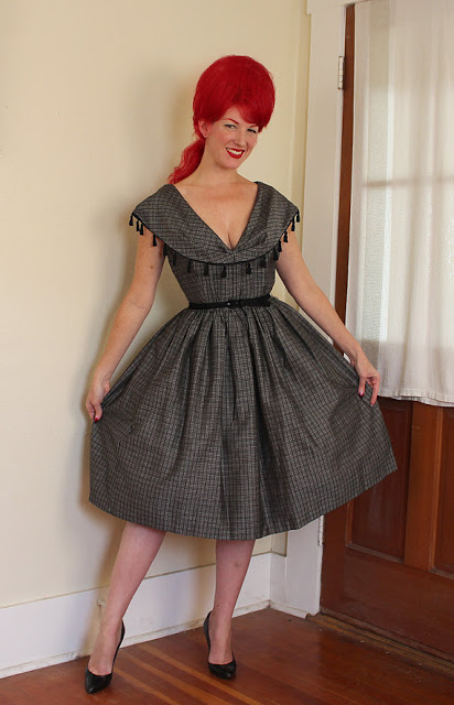 1950s dress pattern plaid picnic gingham plus size xl femme