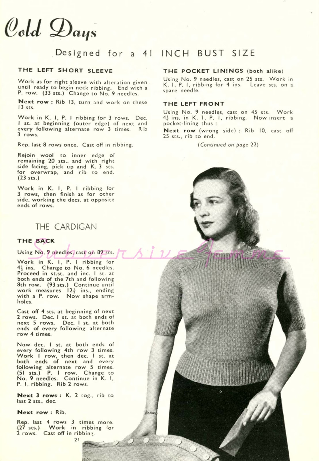 Curvy Month Pattern Six – Cosy for Cold Days, c. 1940s – Subversive ...