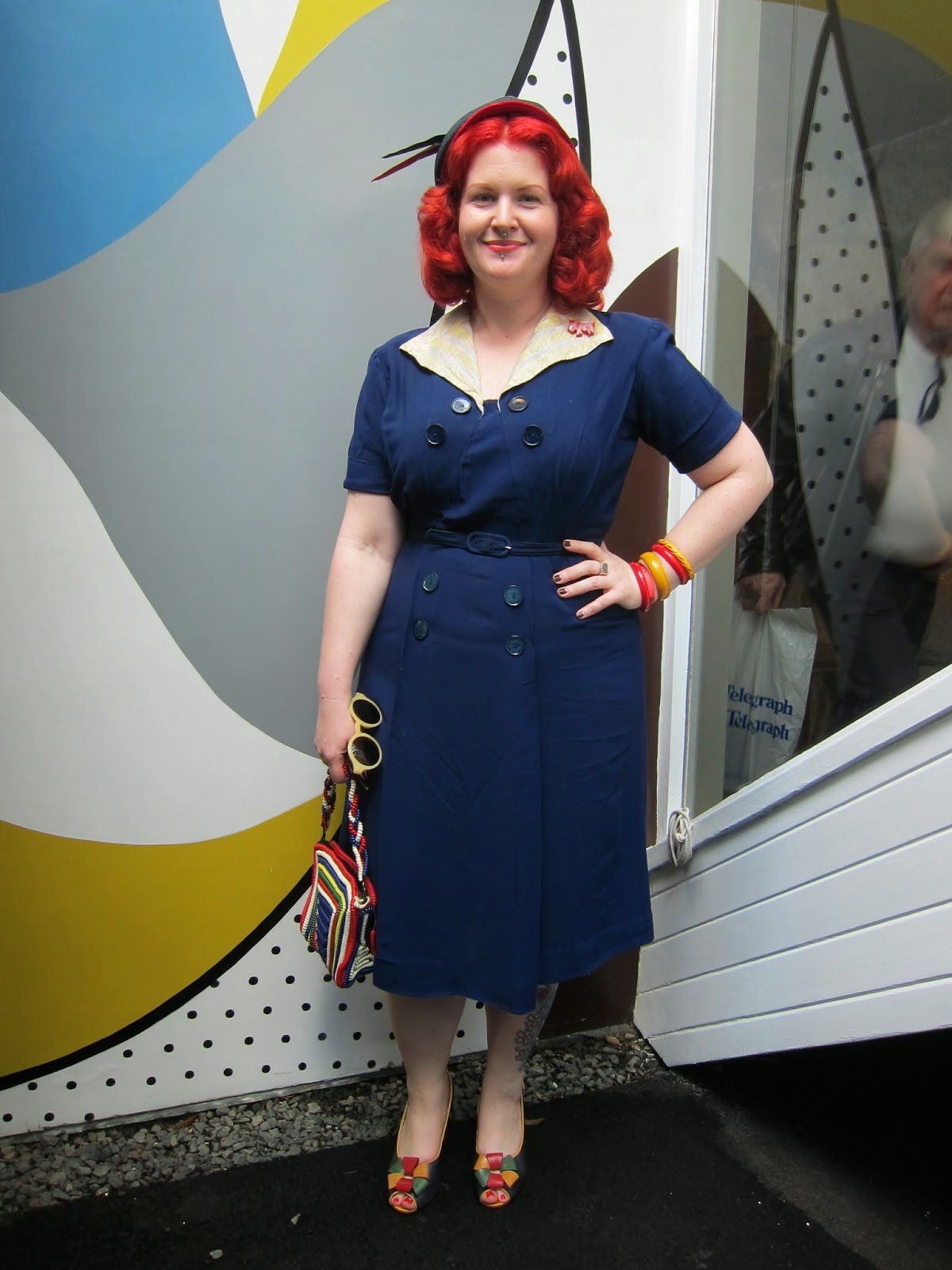 1950s 1940s fifties fair rose seidler house navy red plus size dress rayon xl telephone cord bag miss l fire review rosita