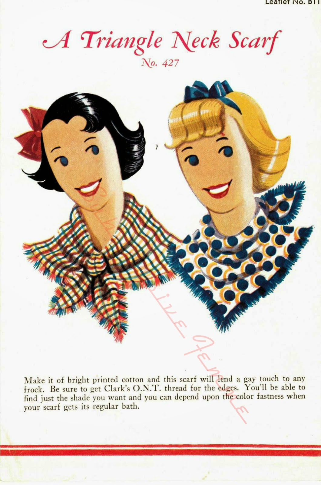 free sewing pattern 1930s the spool company scarf novelty print
