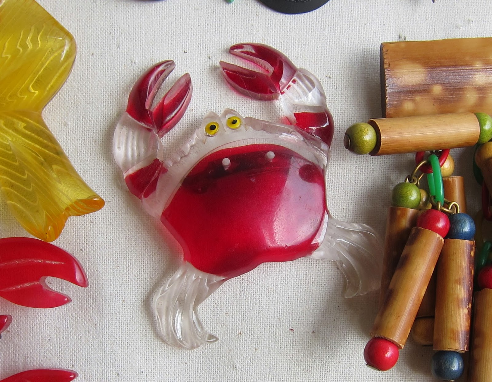 haskell 1940s lucite novelty brooch crab