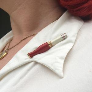 novelty cigarette brooch 1950s