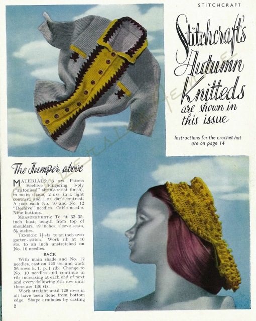 free vintage knitting patterns 1940s jumper sweater stitchcraft magazine