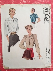 1940s sewing pattern plus size vintage blouse mccalls